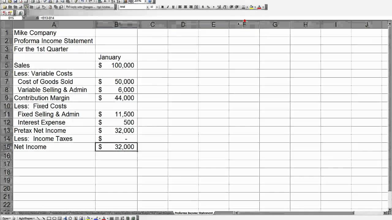 Pro Forma Income Statement Generator Example Of Spreadshee