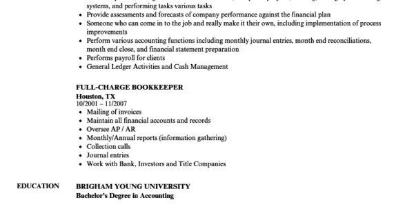 Full Charge Bookkeeper Resume Samples | Velvet Jobs For Bookkeeping Resume Templates