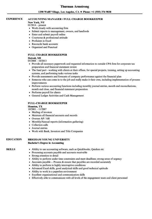Full Charge Bookkeeper Resume Samples | Velvet Jobs With Bookkeeper Resume Sample Summary