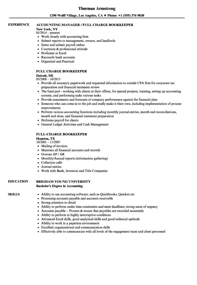 Full Charge Bookkeeper Resume Samples | Velvet Jobs With Bookkeeping Reports Samples