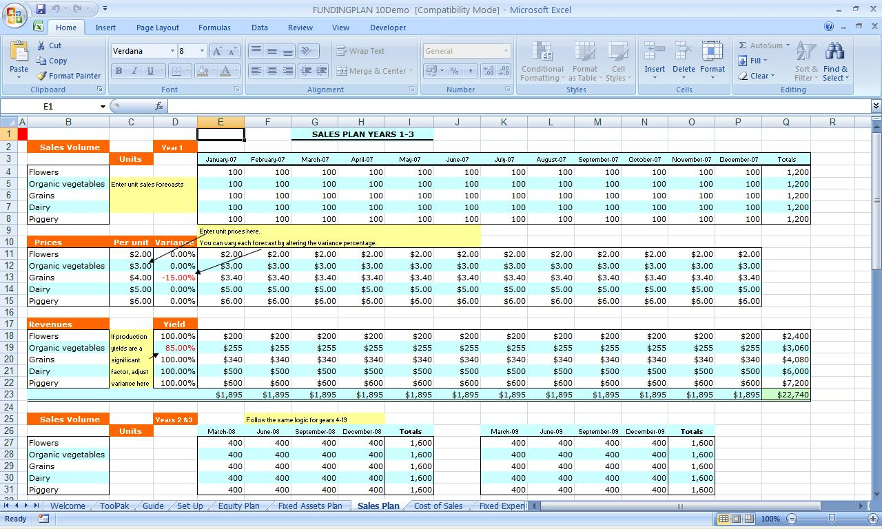 Funding Plan Pro 10 Year Plan For Excel And Excel Templates For Business Accounting