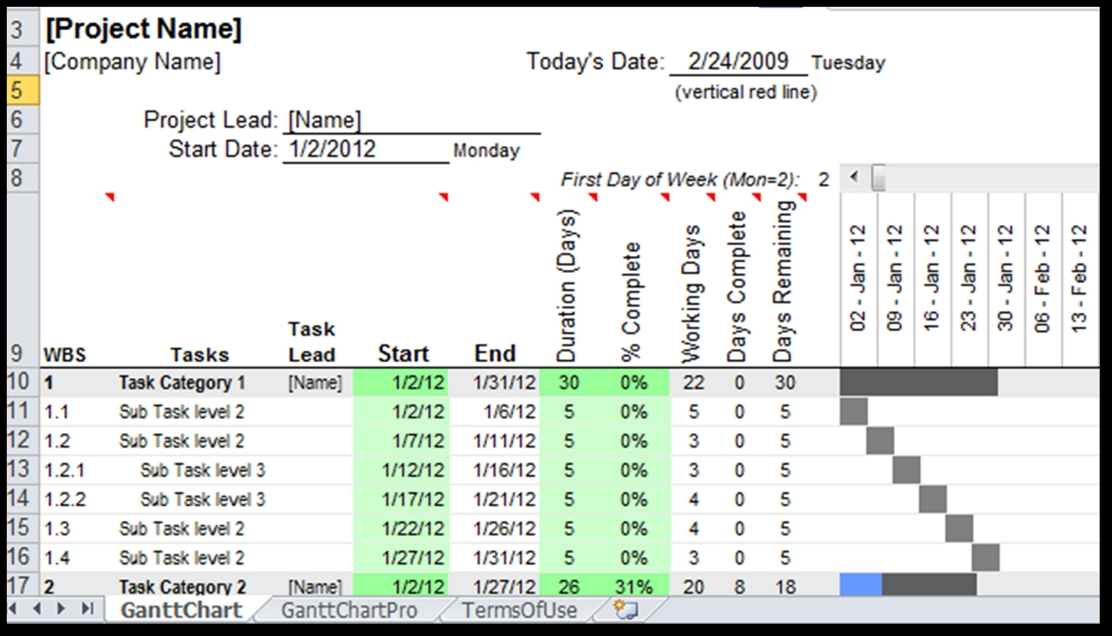 Gantt Chart Excel 2010 Template Free | Best Template & Design Images With Gantt Chart Template Excel 2010 Free