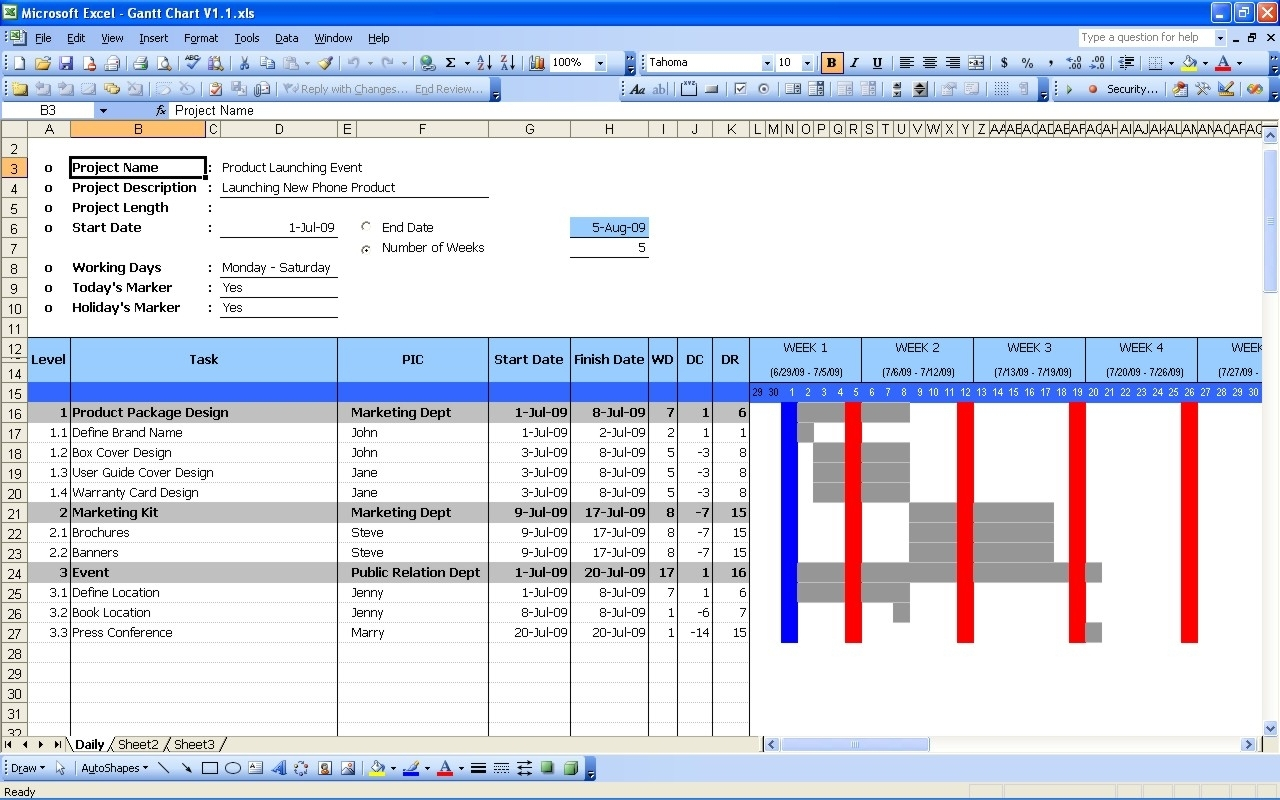Gantt Chart | Excel Templates In Simple Gantt Chart Template Excel In Excel Free Gantt Chart Template Xls