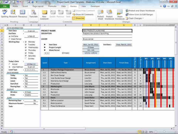 Gantt Chart Template For Excel – Excel Spreadsheet Intended For Excel Spreadsheet Gantt Chart Template