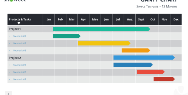 Gantt Charts And Project Timelines For Powerpoint Intended For Gantt Chart Ppt Template Free Download