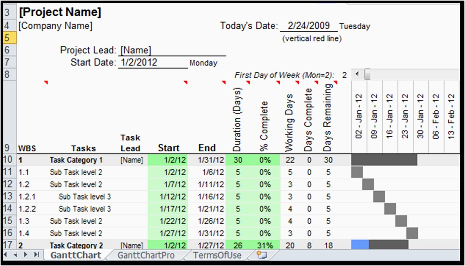 Gantt Excel Vorlage Großartig Excel Spreadsheet Gantt Chart Template Throughout Gantt Chart Excel Template Xls