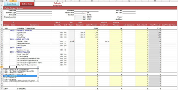 General Construction Estimate Template | Cost Construction Sheet For Construction Bid Form Excel