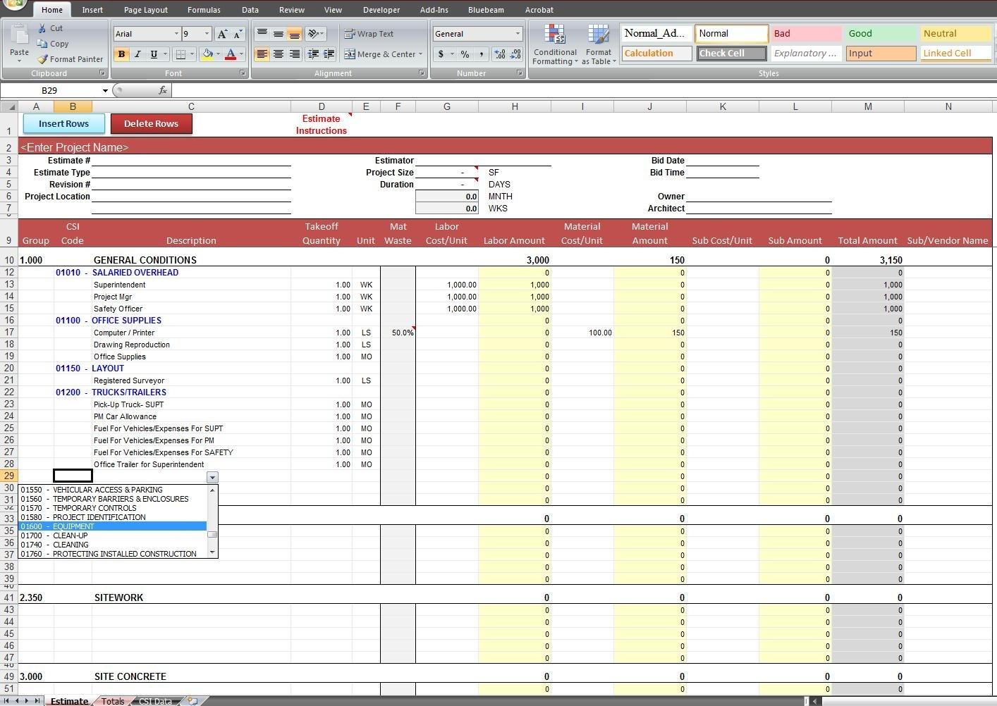 General Construction Estimate Template | Cost Construction Sheet For Construction Bid Form Excel