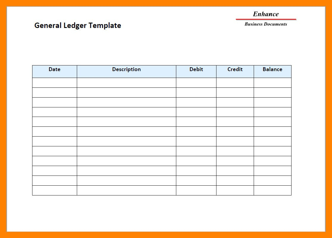 General Ledger Template At Free Ledger Template   Example Resume In Free General Ledger Template