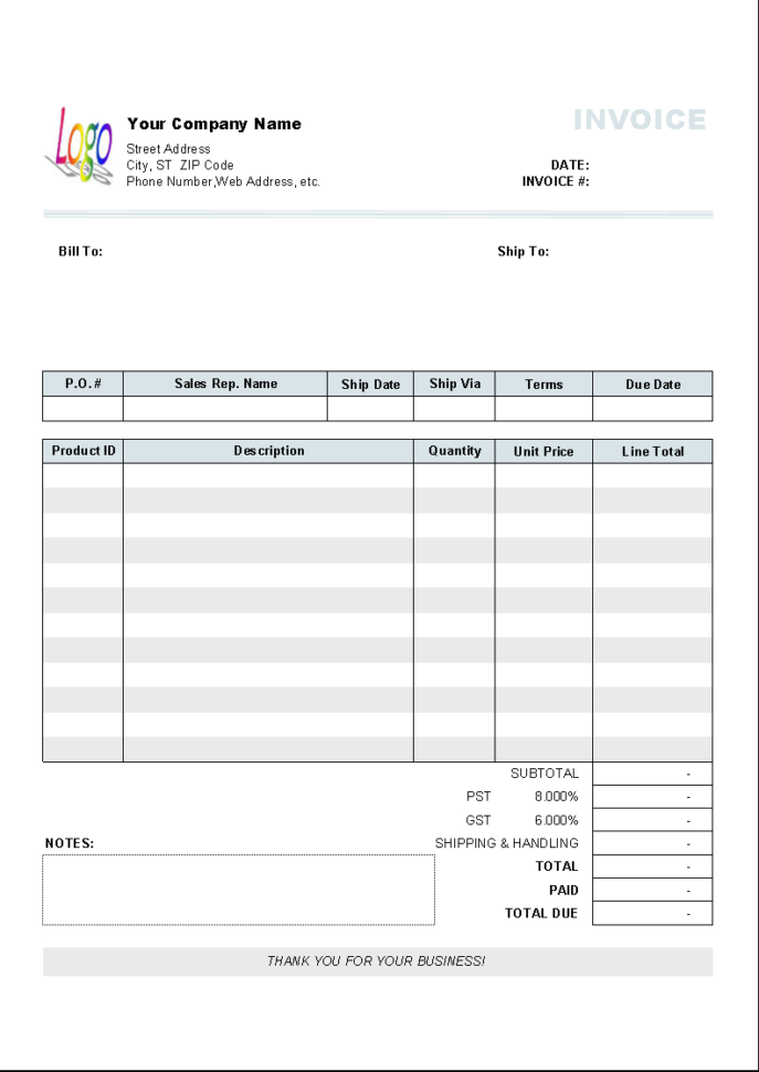 General Sales Invoice Template   Uniform Invoice Software Throughout Business Invoice Program Sample