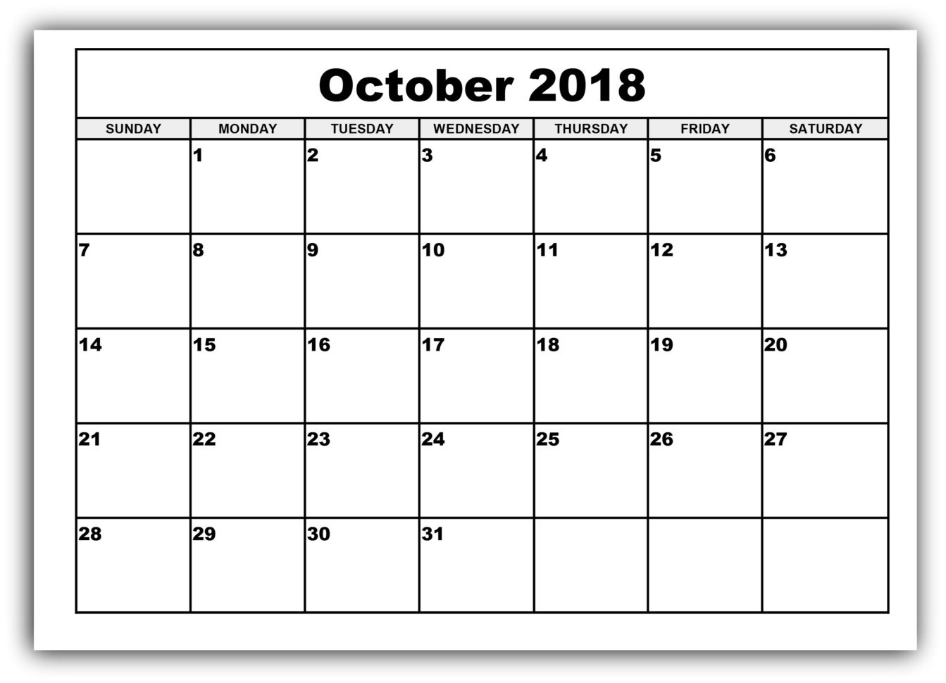 Get October 2018 Blank Printable Calendar Templates | April 2018 Inside Blank Worksheet Templates