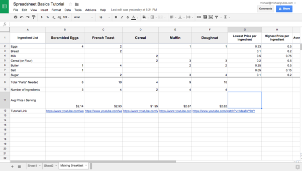Google Sheets 101: The Beginner's Guide To Online Spreadsheets   The Throughout Example Of Spreadsheet Data