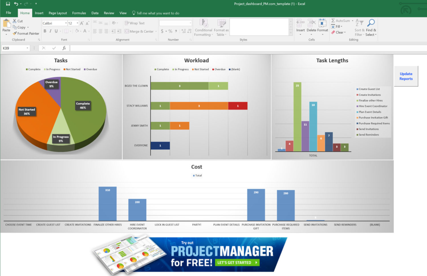 Guide To Excel Project Management   Projectmanager With Project Management Spreadsheet Excel Template Free