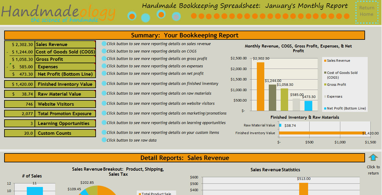 Handmade Bookkeeping Spreadsheet   Just For Handmade Artists In Spreadsheet For Small Business Bookkeeping