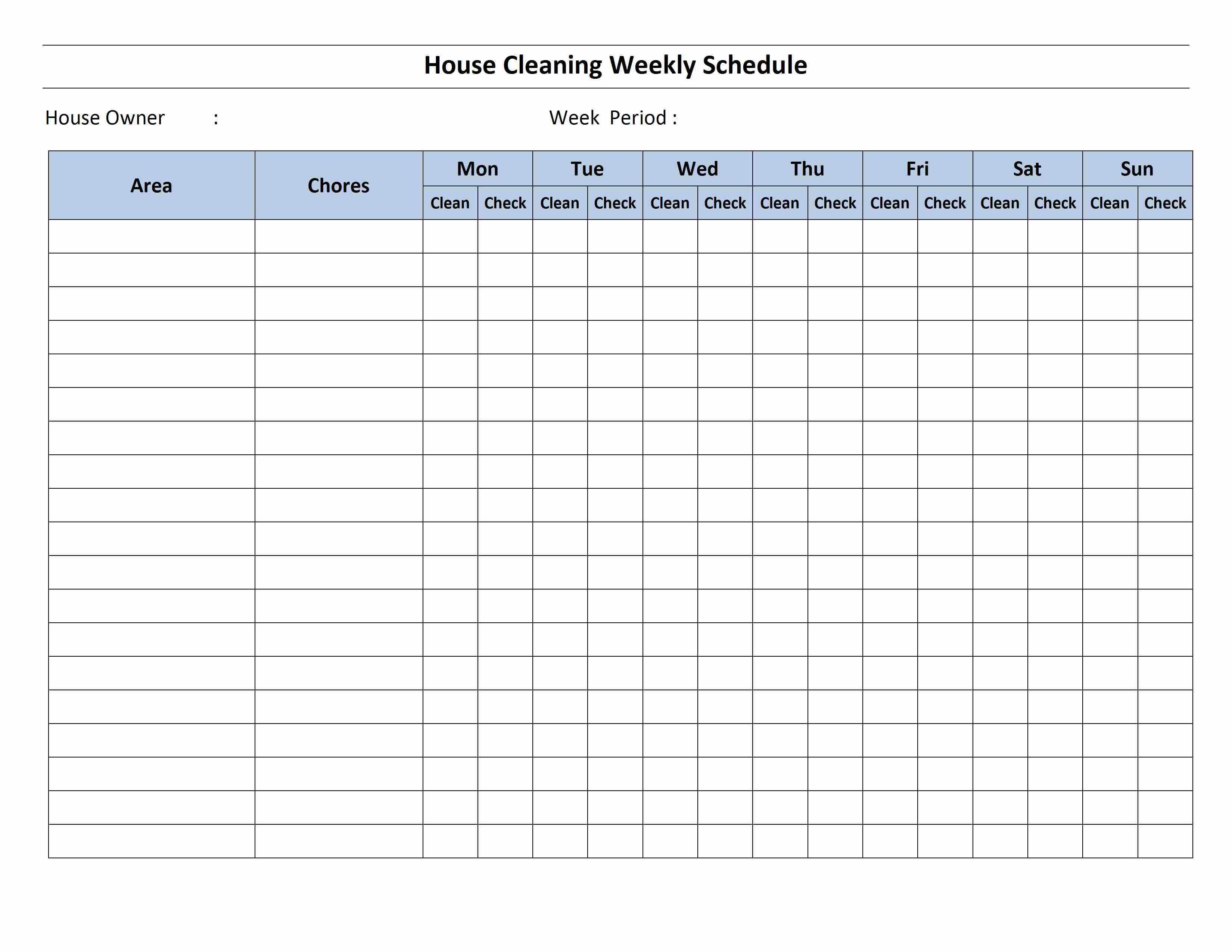 House Cleaning Schedule Template And Printable Employee Schedule Templates