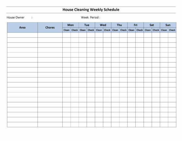 House Cleaning Schedule Template Intended For Employee Weekly Schedule Template Excel