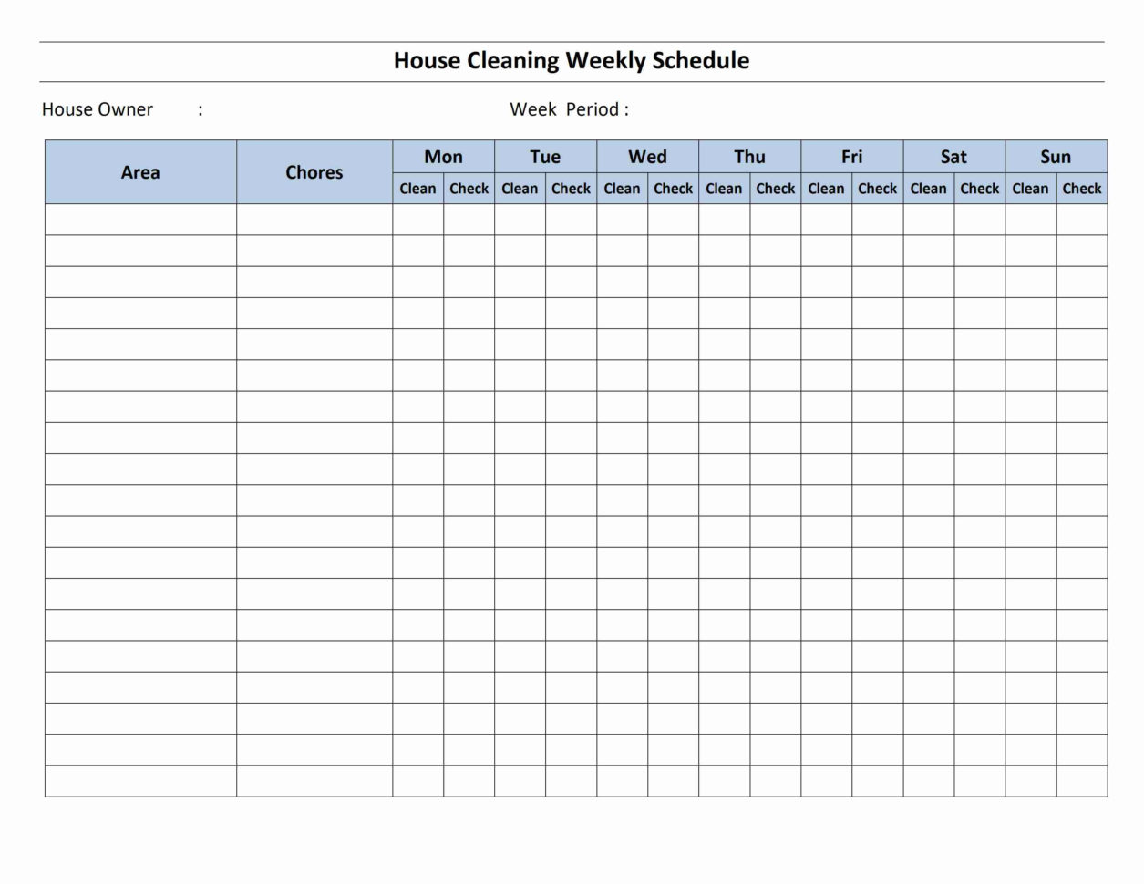 House Cleaning Schedule Template With Employee Weekly Schedule Template