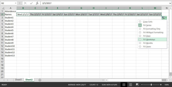 How To Create A Basic Attendance Sheet In Excel « Microsoft Office For How To Make A Spreadsheet