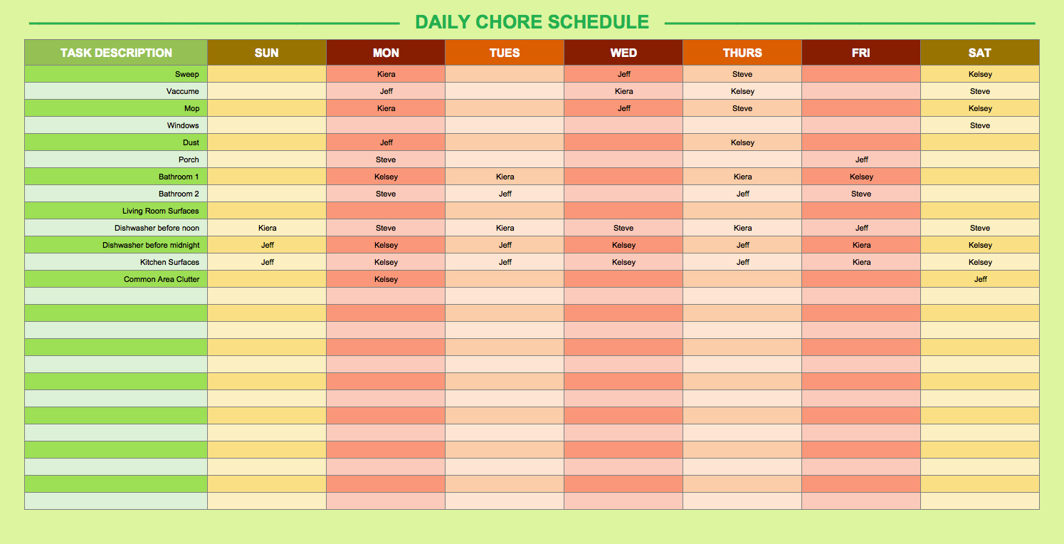 How To Create A Work Schedule In Excel With Schedule Spreadsheet Template