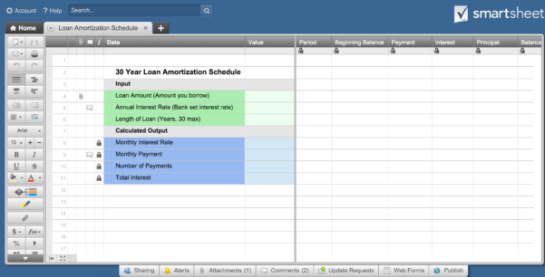 How To Create An Amortization Schedule | Smartsheet Throughout Loan Amortization Spreadsheet