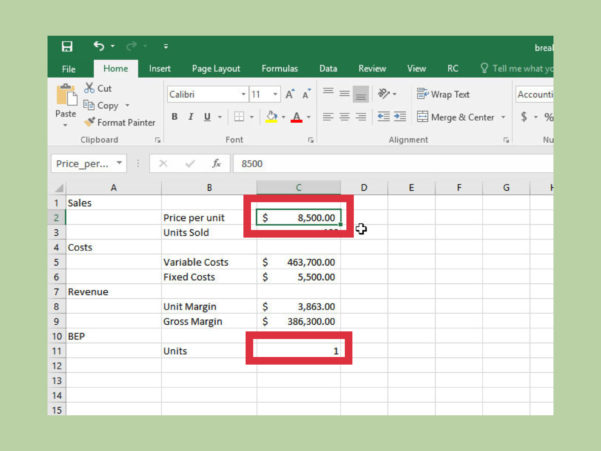 How To Do A Break Even Chart In Excel (With Pictures)   Wikihow To Profit Margin Calculator Excel Template