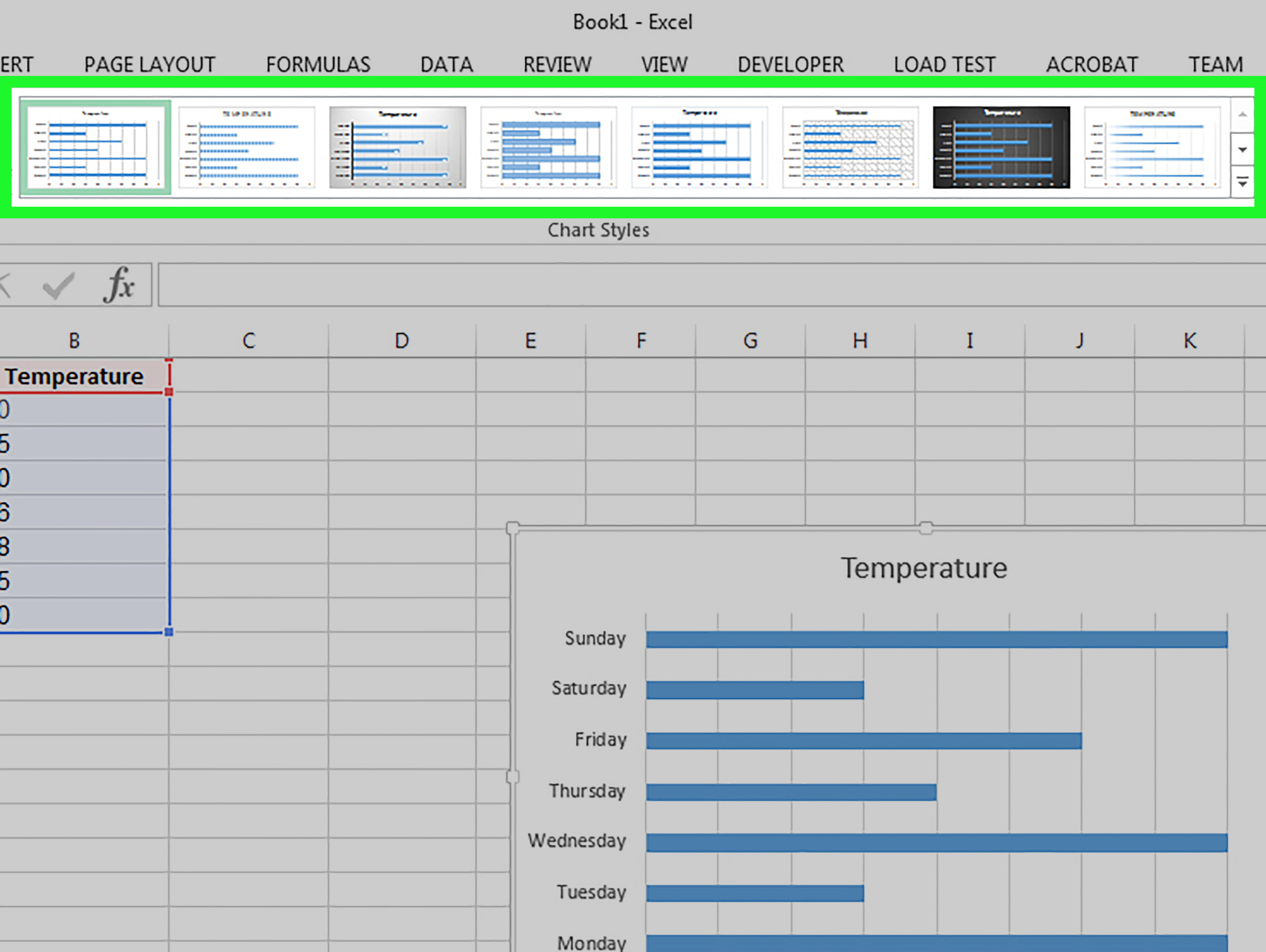 How To Make A Bar Graph In Excel: 10 Steps (With Pictures) And Example Of Spreadsheet Data