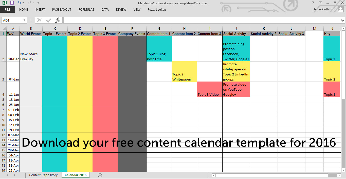 How To Make A Content Calendar   2016 Template   Manifesto Inside Content Marketing Calendar Template