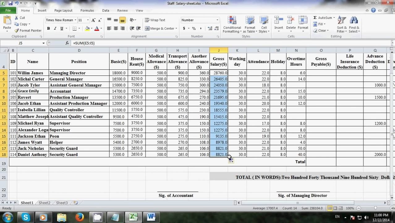 How To Make Salary Sheet In Excel With Formula | Laobingkaisuo Also With Balance Sheet Format In Excel With Formulas