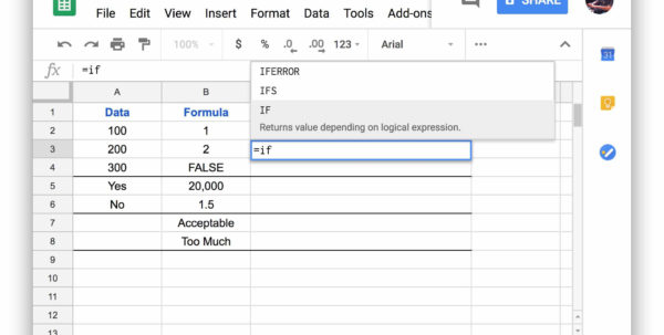 How To Use Google Spreadsheet If Functions Throughout Google Spreadsheet If