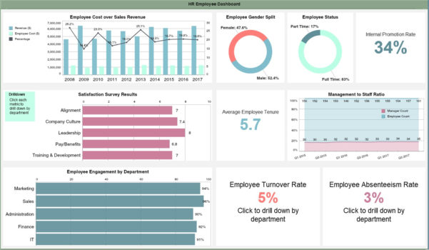 Hr Employee Dashboard Example | Idashboards Software And Hr Kpi Dashboard Excel