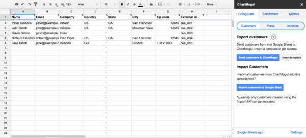 Import Billing System Data From A Google Sheet – Help Center Intended For Example Of Spreadsheet Data