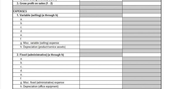 Income Statement Profit And Loss Profit And Loss Statement Template Intended For Profit And Loss Statement Template For Self Employed