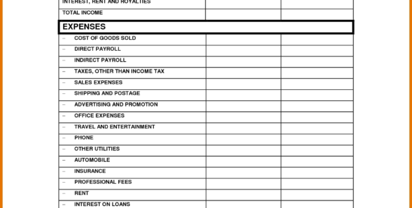 Income Statement Worksheet Small Business Profit And Loss Template With Sample Income Statement For Small Business