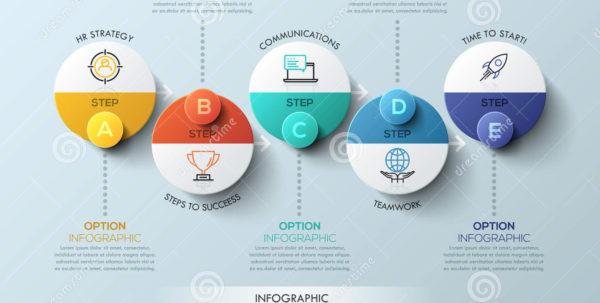 Infographic Design Template With Circular Elements, 5 Steps To With Project Management Design Templates