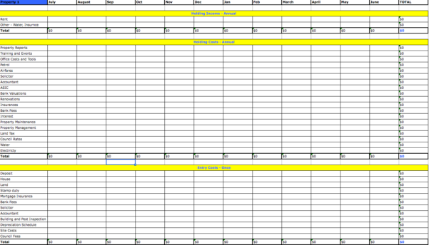 Investment Property Spreadsheet For Tax In Rental Bookkeeping Spreadsheet