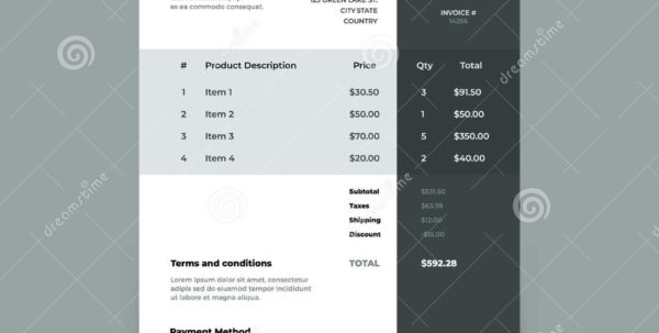 Invoice Template. Bill With Price Table. Paper Order Bookkeeping Inside Bookkeeping Invoice Template