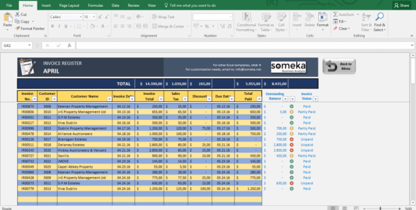 Invoice Tracker   Free Excel Template For Small Business And Free Dashboard Software For Excel 2010