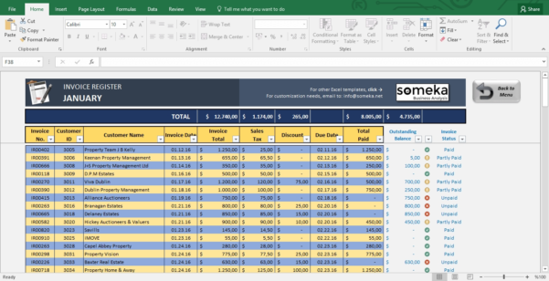 Invoice Tracker Free Excel Template For Small Business Invoice To Business Spreadsheet Template
