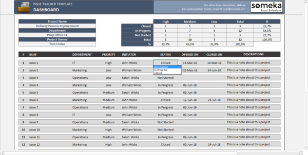 Issue Tracker   Free Excel Template To Track Project Management Issues And Project Management Spreadsheet Excel Template Free