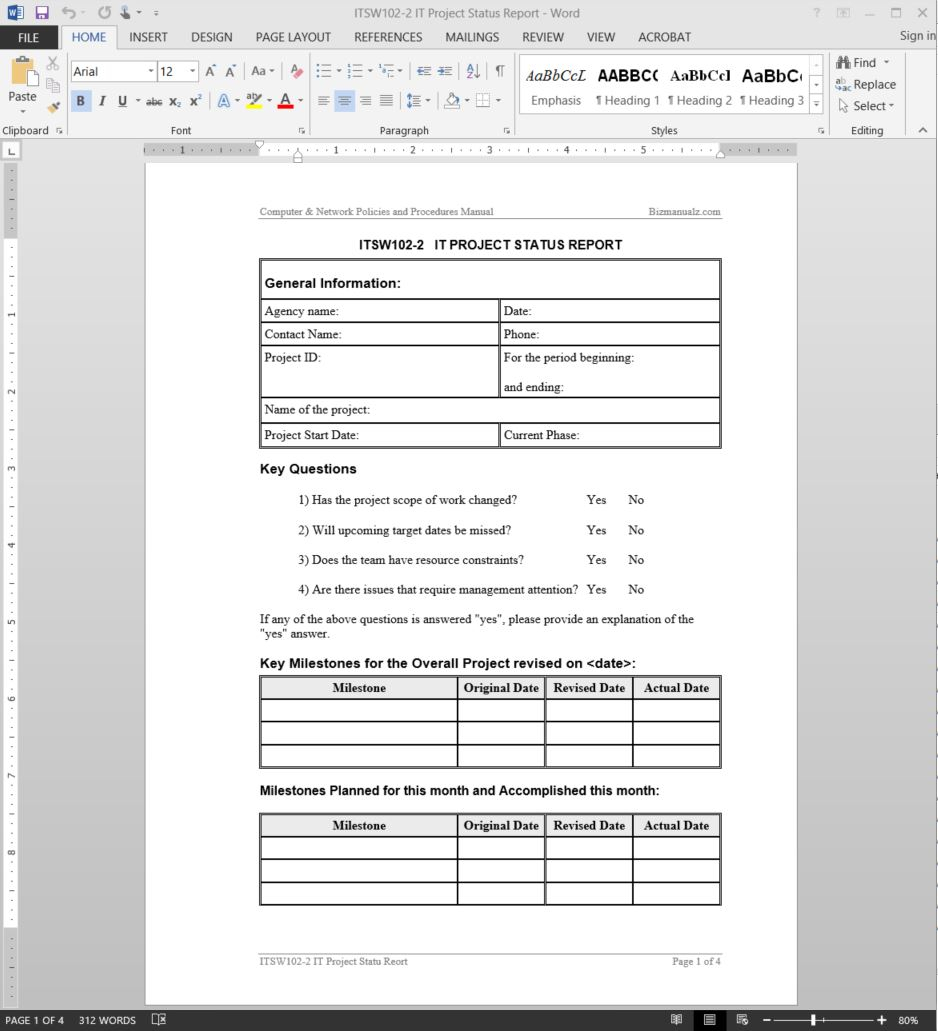 It Project Status Report Template And Project Management Reporting Templates For Status
