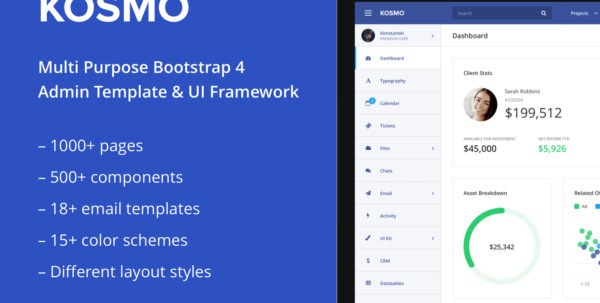 Kosmo   Responsive Bootstrap 4 Admin Template Free Download   Graphic Dl For Crm Template Free Download