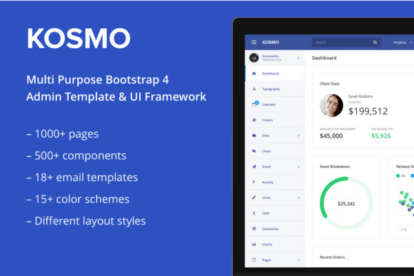 Kosmo   Responsive Bootstrap 4 Admin Template Free Download | Graphic Dl For Crm Template Free Download