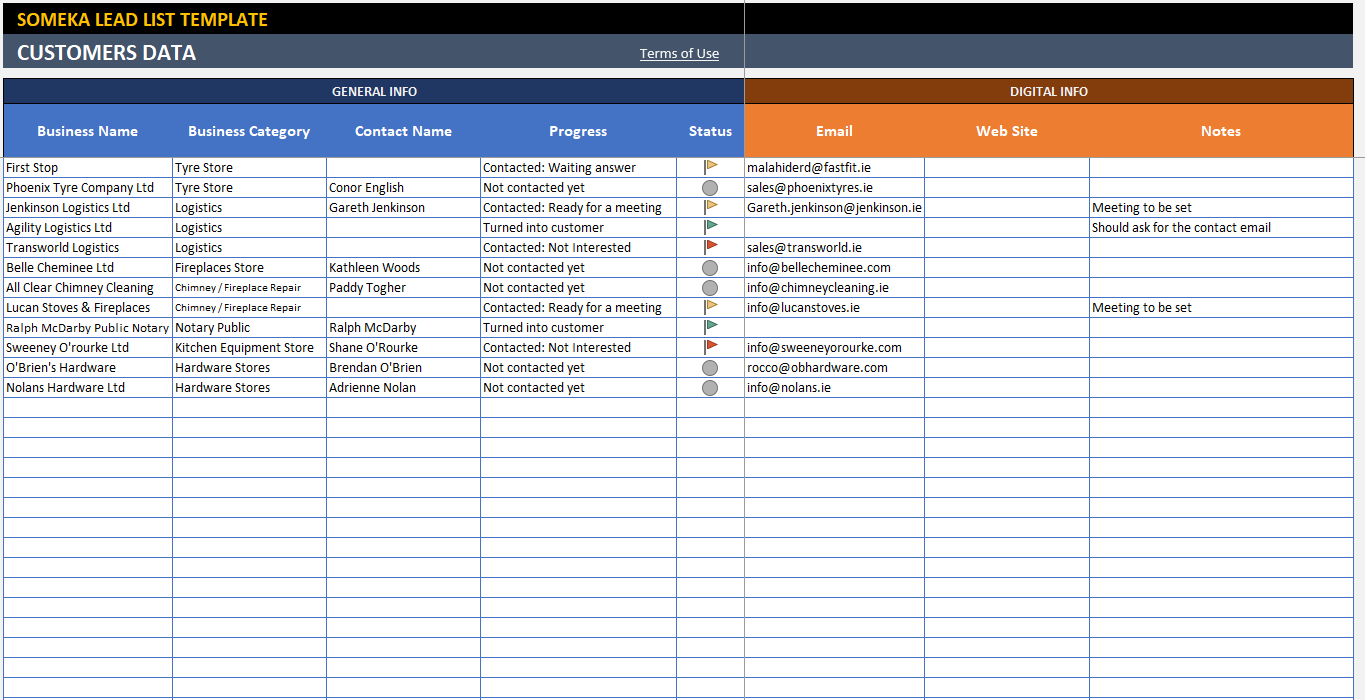 Lead List Excel Template For Small Business | Free - Printable Throughout Sales Lead Spreadsheet Template