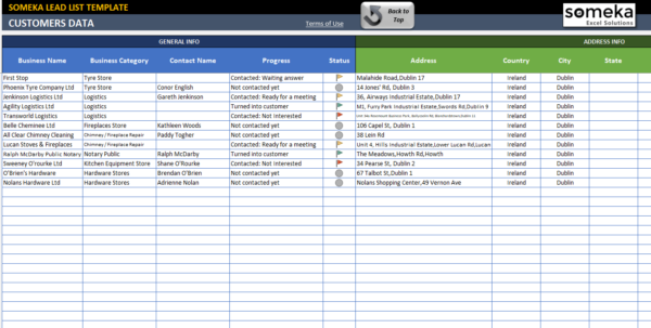 Lead List Excel Template For Small Business | Free   Printable Within Microsoft Excel Crm Template