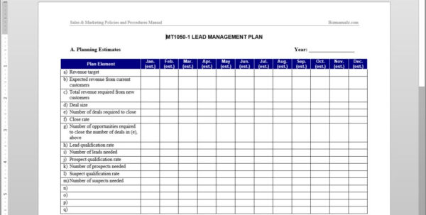 Lead Management Plan Template With Sales Lead Template Forms Sales Lead Template Forms Example of Spreadsheet
