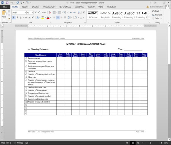 Lead Management Plan Template With Sales Lead Template Forms