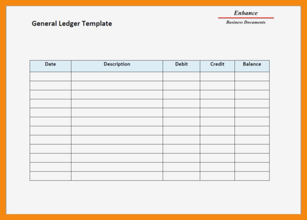Ledger Template General Form Accounting Top 5 Templates Word Excel Within Excel Accounting Templates General Ledger
