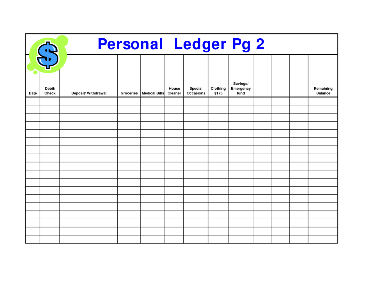 Ledger Template Printable   Southbay Robot With Free General Ledger Template