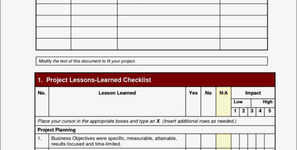 Lessons Learnt Template Checklist. Lessons Learned Template Excel Within Project Management Checklists Templates