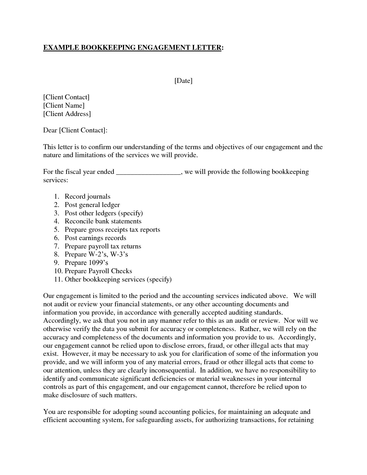 Letter Of Engagement Bookkeeping Template Australia New Sample And Bookkeeping Engagement Letter Example